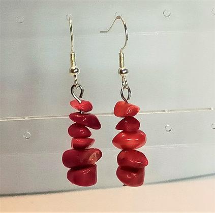 Boucles d'oreilles argenté/corail rouge