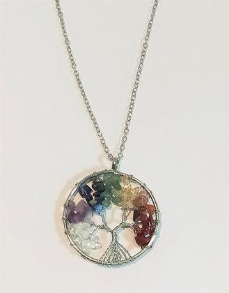 Chaîne/pendentif/arbre de vie chakra pierres naturelles