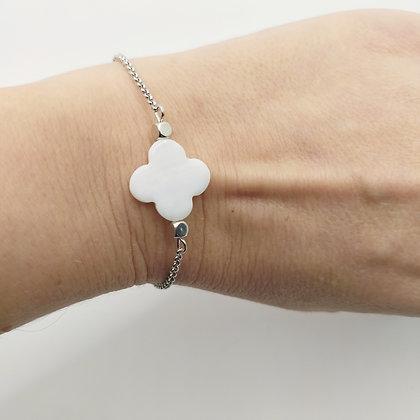 Bracelet trèfle nacre blanc/argenté