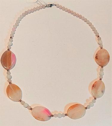 Collier en perles naturelles agate opale/quartz rose/jade