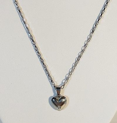 Pendentif cœur plein convexe avec pierre argenté