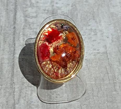 Bague résine ovale doré fleurs orange/rouge #9