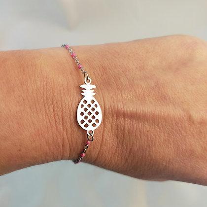 Bracelet ananas rose/argenté
