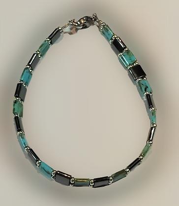 Bracelet hématite anthracite, argent, turquoise