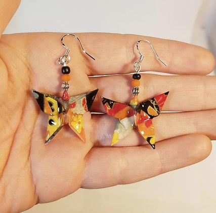 B.O. papillon noir-orange-jaune/argenté
