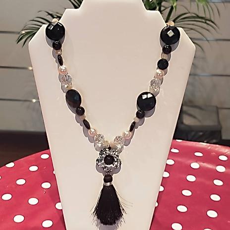 Collier grosses perles noir&blanc