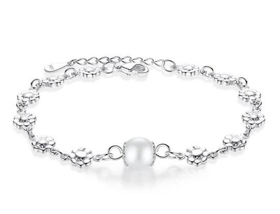 Bracelet fleur en argent perle blanche