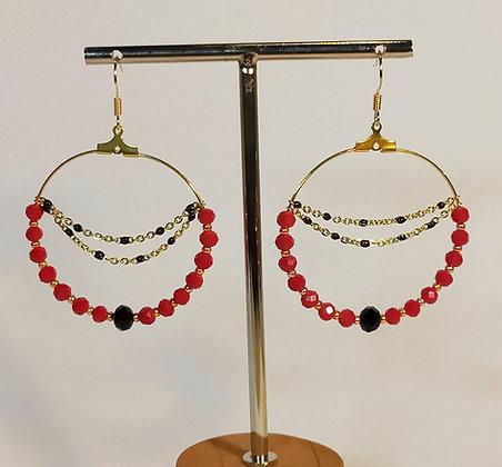 B.O.  chaîne perles facettées rouge/noir/doré