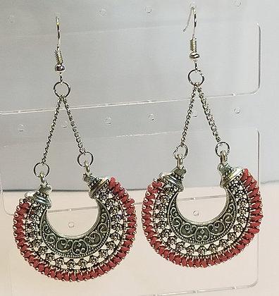 Boucles d'oreilles métal argenté rouge