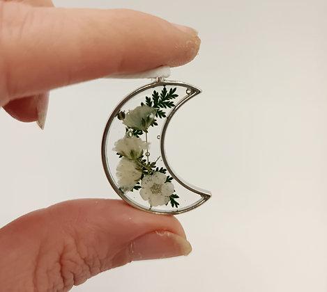 Pendentif résine lune fleurs blanches/argenté #7