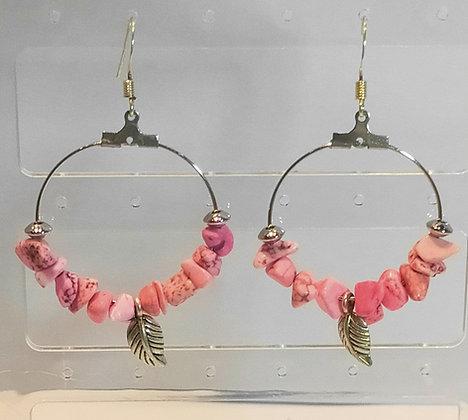 Boucles d'oreilles turquoise rose