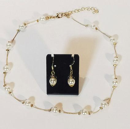 Parure 2 pcs doré/perles blanches