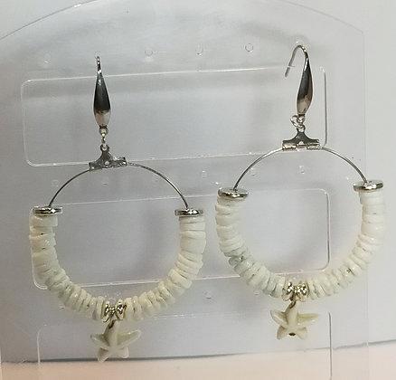 Boucles d'oreilles perles de coquillage blanc