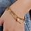 Thumbnail: Bracelet double chaîne trèfle/arbre de vie/lune en acier inox doré