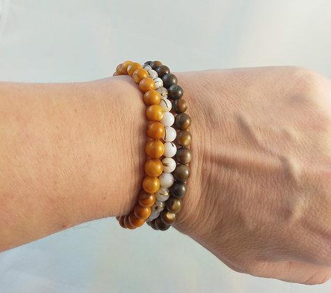 Bracelet triple en perles nacrée 3 couleurs