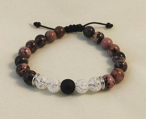 Bracelet ajustable Rhodonite / cristal de roche craquelé / agate noire