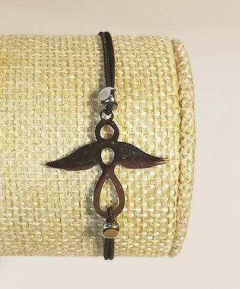 Bracelet élastique argenté/noir/ange