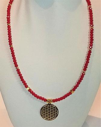 Tour de cou perles doré/rouge facettes mandala