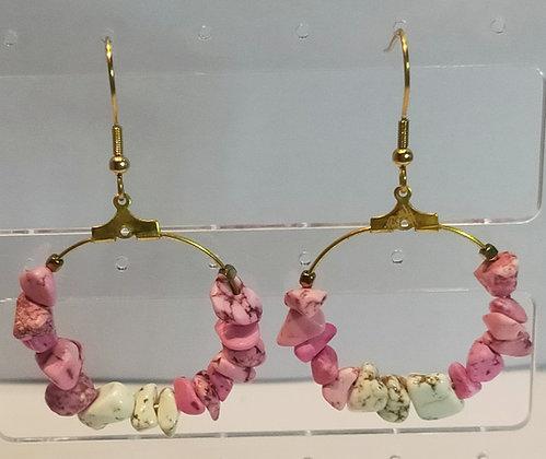 Boucles d'oreilles turquoise rose/blanc
