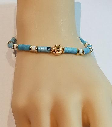 Bracelet P.N. Doré/Bleu azure