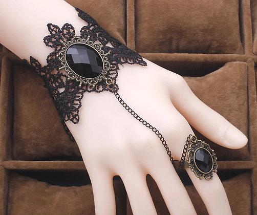 Bracelet-bague dentelle noir