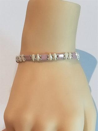 Bracelet duo argent/rose/blanc cassé