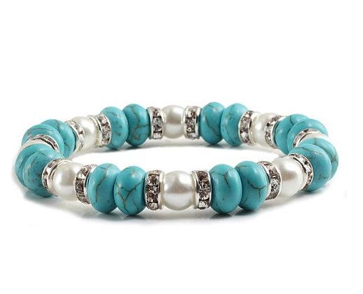 Bracelet perles turquoise/blanc/strass