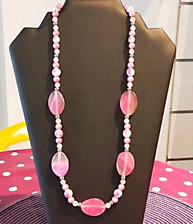 Collier grosses perles roses