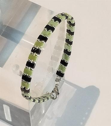 Bracelet duo argenté/noir/vert