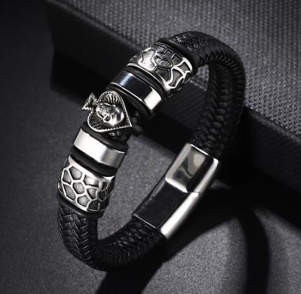 Bracelet tendance en cuir véritable pour hommes 23