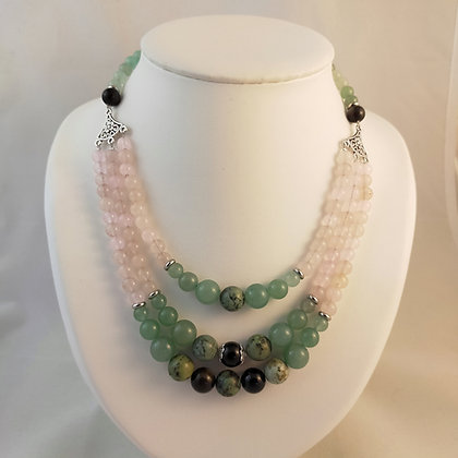 Collier triple aventurine/quartz rose/obsidienne/turquoise africaine