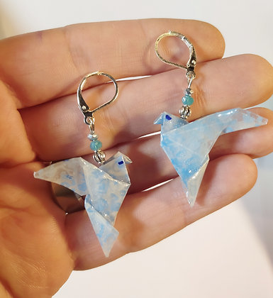 B.O. origami oiseau 4 bleu/argenté