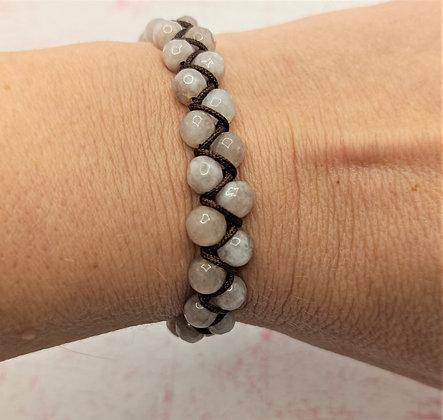 Bracelet double rang en perles de Jade marron-gris