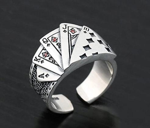 Bague redimensionnable en titane pour hommes jeu de carte