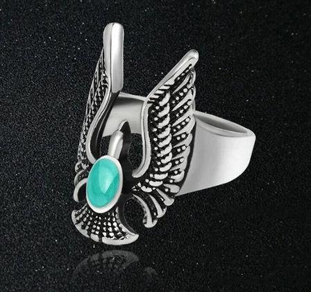 Bague homme oiseau turquoise