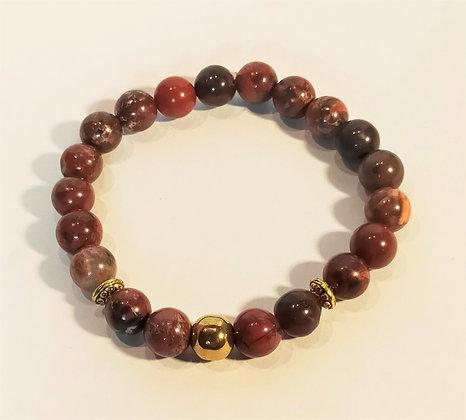 Bracelet jaspe rouge/hématite