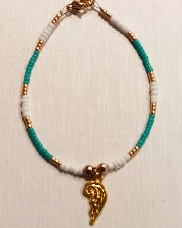 Turquoise & doré aile d'ange