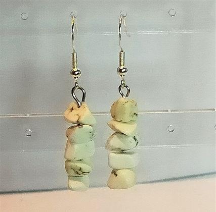 Boucles d'oreilles argenté/turquoise blanc