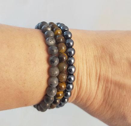 Bracelet triple protection labradorite/œil de tigre/hématite