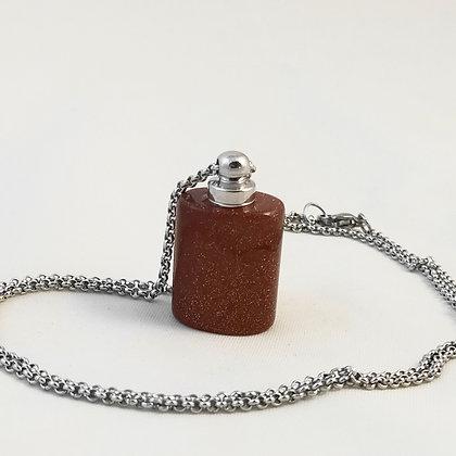 Collier bouteille de parfum pierre de sable doré/argenté