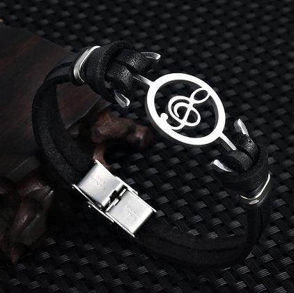 Bracelet en cuir et en acier inoxydable, note de musique