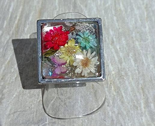 Bague carré multi-fleur argenté #5