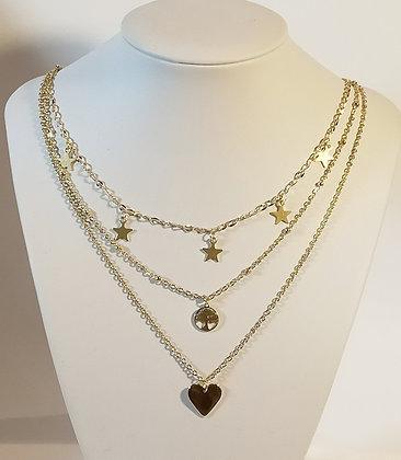 Triple chaîne doré cœur étoile arbre de vie