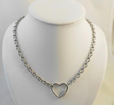 Collier grosse chaîne fermoir cœur Zirconium