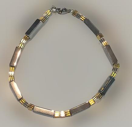 Bracelet hématite argenté, doré