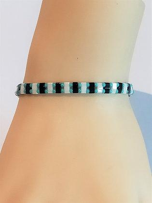 Bracelet duo turquoise/blanc/noir