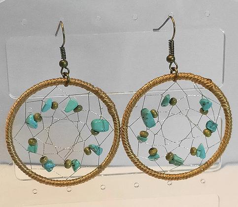 Boucles d'oreilles toile d'araignée perles turquoise