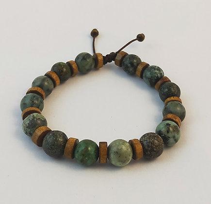 Bracelet ajustable turquoise africaine et bois