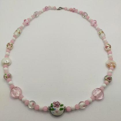 Collier rose/blanc perles Murano et naturelles