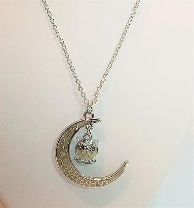 Chaîne/pendentif lune hibou